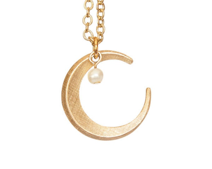 Vintage Brass Crescent Moon with Glass Pearl Bead
