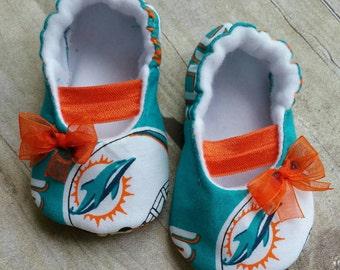 Miam Dolphins Baby Maryjane Booties