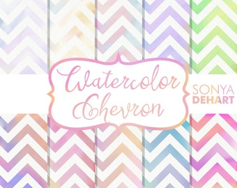 Digital Paper Watercolor Chevron Texture Backgrounds DP126