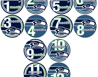 Month to Month Baby Stickers - Baby monthly stickers 1 to 12 months - Bodysuit Romper Stickers - Monthly Baby Stickers - SEAHAWKS