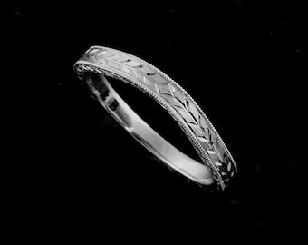 Contour Wedding Ring, Engraved Wedding Band, Women's Gold Wedding Band, Wheat Leaves Engraved Wedding Band, Vintage Style Wedding Ring 2.5mm