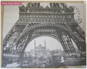 Paris Party Backdrop Poster - Eiffel Tower Printable - French Vintage - Party Supplies and Decorations