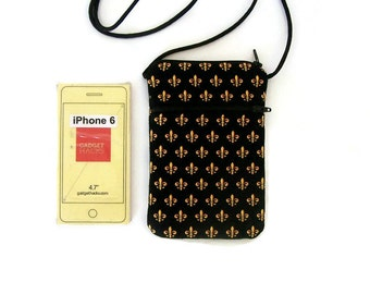 Cell Phone Crossbody Black and Gold