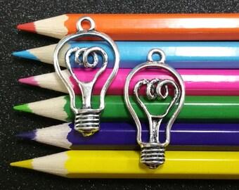 3 PCS - Light Bulb Electric Idea Silver Charm Pendant C0279