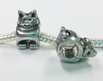 3 Beads - Cat Animal Silver European Charm Bead E1430