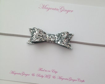 Baby/ Girl LARGE Silver Glitter Bow Headband. Great for ALL Ages. Newborn Bow Head Band, Infant Bow Head Band, Glitter Bow Hairband.