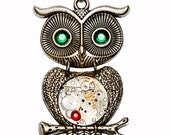 Tibetan Silver Steampunk Owl Pendant Necklace. Contains Genuine Watch Movement. Hand Made in Cornwall, UK