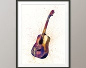 Acoustic Guitar, Abstract Watercolor Music Instrument Art Print (1987)