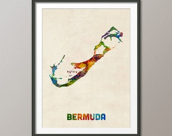 Bermuda Watercolor Map, Art Print (2020)