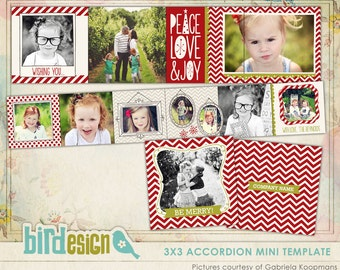 INSTANT DOWNLOAD - Christmas Accordion mini template 3x3 - Cinnamon chevron - E544