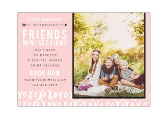 INSTANT DOWNLOAD  - Valentine Minis Photography Marketing board - Photoshop  template - E1184
