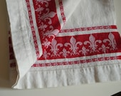 Large French Fleur De Lis Towel, Vintage Red and White