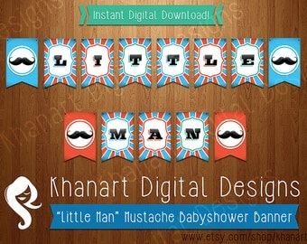 "Instant Download: ""Little Man"" Mustache Babyshower Banner (Orange / Teal)"