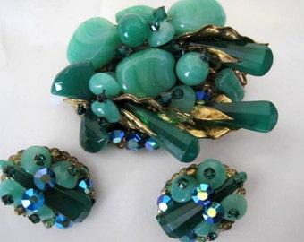 Green Glass Brooch Earrings - Molded Glass - Aurora Borealis Rhinestones - Mid Century - European Jewelry
