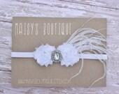 75% OFF White Mini Flowers/ Wedding/ Baptism/1920s/Baby Headband/ Newborn Headband/ Flower Girl Headband/ Wedding Hair