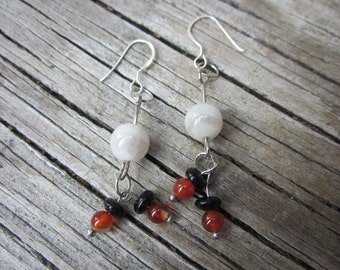 Moonstone, Sunstone, and Onyx Silver Earrings Free Shipping