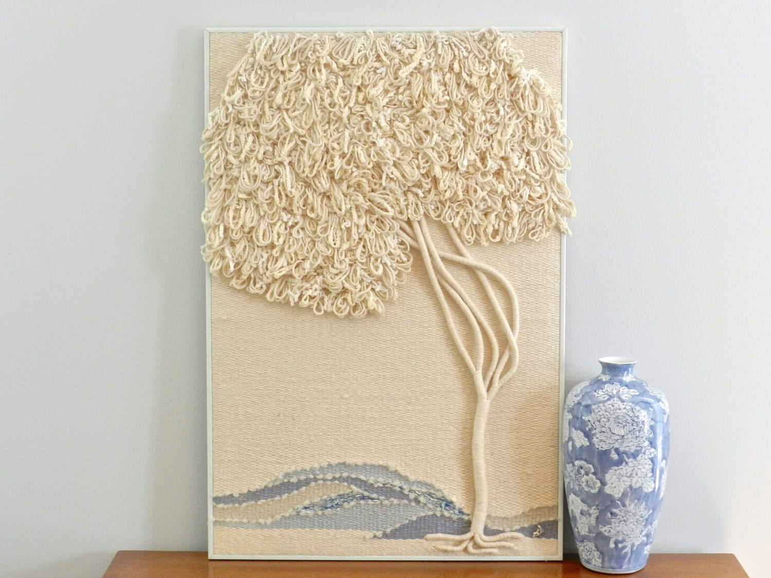 Woven Leaves Wall Decor : Vintage woven textile wall decor wool tapestry weaving art