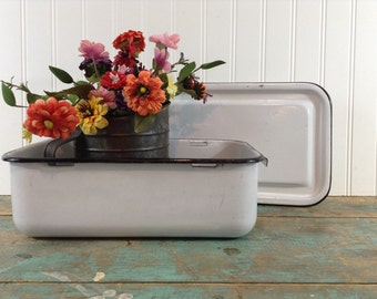 Refrigerator Box with Lid ~ Enamelware Porcelain ~ Enameled Ware ~ Refrigerator Containers