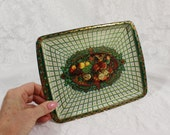Small Tin Tray made by Daher in England- Green Floral with Perspective Design- Candy Dish- Vanity Dressing Table Tray