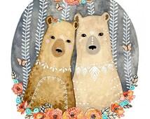 Bear Illustration Art, art for kids room, art for boys, art print, archival print - Little Bears Aura and Marlo by Marisa Redondo