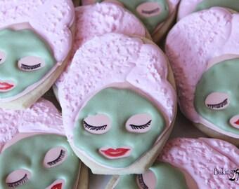 Spa Day Cookies, Spa Party, Slumber Party Cookies, Towel Wrap Girl, Girls Night Cookies, Pamper Day, Spa Birthday, Spa Cookies