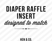 DIAPER RAFFLE INSERT - Add on - Made to Match - Digital or Printed