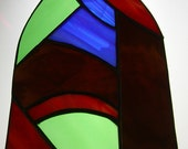 Vintage Stained Glass Suncatcher Gothic Window Shape  Red, Blue, Brown and Green