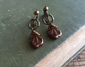 Copper Leaf Clip On Earrings,  Dangle Clip Earrings, Wire Wrapped, Screw Back Earrings