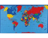 World Map Fabric, Map Fabric Panel, Sewing Material, Asia/Africa/US, Home Decor/Quilting/Apparel/Diy/Craft Fabric Yardage