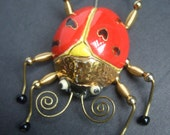 RESERVED SALE PENDING for Judy Whimsical Large Ceramic Lady Bug Stick Pin Brooch c 1980s