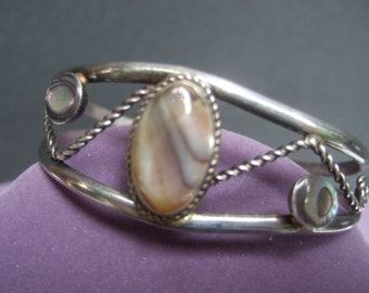 Sterling Mexican Agate & Abalone Artisan Bracelet c 1970s