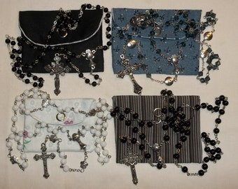 First Communion Chalice rosary, White, Black 6mm or Black 5mm Catholic Rosary & pouch