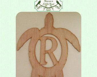 Seaturtle Monogram (Large ) Wood Cut Out -  Laser Cut