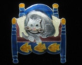 SALE Sterling Silver Enameled Vintage Brooch of Cat on Bed Resting Between 2 Human Feet.  Whimsy Personified.