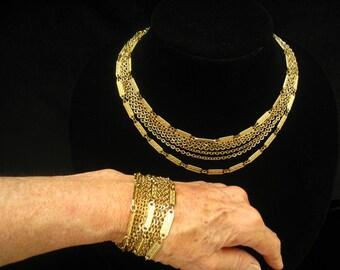 SALE Mid Century MONET Vintage Demi Parure of 7-Strand Chain Link Choker Necklace & 11-Strand Matching Chain Link Bracelet.