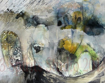 """Original Mixed Media abstract Expressionist Contemporary painting on paper- """"The Last Horse"""""""