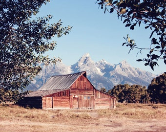 Grand Teton National Park - Landscape Photography - Moulton Barn Photograph - Barn Photo - Fine Art Photography Print - Rustic Home Decor