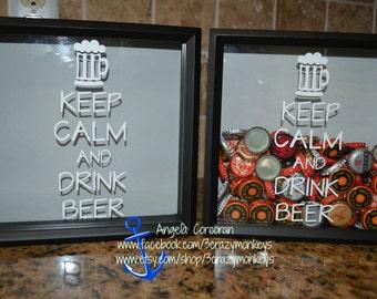 Keep Calm Beer bottle Gift - Unique Home Décor - Beer Home Décor - Gift for him - Beer shadow box