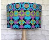 LampShade Handmade From Vintage Heals Canasta Fabric 35cm Drum Shade