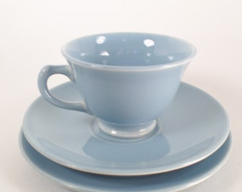 LuRay Pastels China Tea Cup, Saucer and Bread Plate Set in Windsor Blue