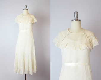 vintage 1920s dress / 20s wedding dress / 20s cream silk chiffon dress / dress and slip set / cream bridal dress