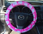 Steering Wheel Cover made with Lilly Pulitzer's bright pink Tusk In Sun fabric