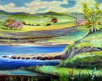Springtime in The Country,Country Landscape, Dan Leasure Oil, 48,32, Farmland Barns