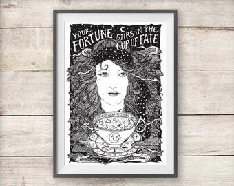 Tea Leaf Reading Fortune Teller Print