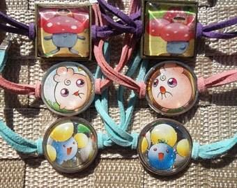 Friendship Bracelet - Jumpluff, Igglybuff, Vileplume - Glass Charm Bracelet/Anklet made from HOLO Japanese Cards