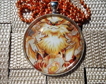 1.5 inch Diameter Arcanine  - HOLO - Evolution! - Rare Pendant Charm made from Trading Cards