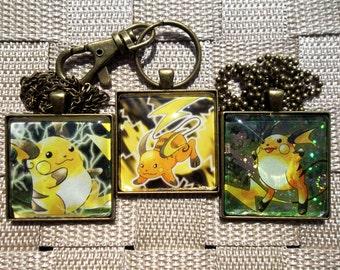 Raichu - Holo and Rare - Japanese Handmade Glass Pendant from Trading Cards