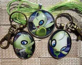 Celebi Lot  - Japanese and HOLO - Rare Pendant Charm made from Trading Cards