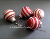 Candy Cane Glitter Christmas Ball Dangle Earrings. Red. White. Round. Christmas. Gift. Holiday. Festive. Under 10 Dollar Jewelry. Sale.