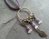 SALE Fairy Ornament necklace. Purple leather, glass beads, pink Rose Quartz, bronze metal pendant. Jugendstil Flower leaf. Boho hippie